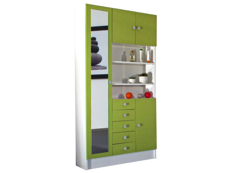 armoire de salle de bain 1 miroir 4 portes 5 tiroirs weni coloris blanc vert chez conforama. Black Bedroom Furniture Sets. Home Design Ideas