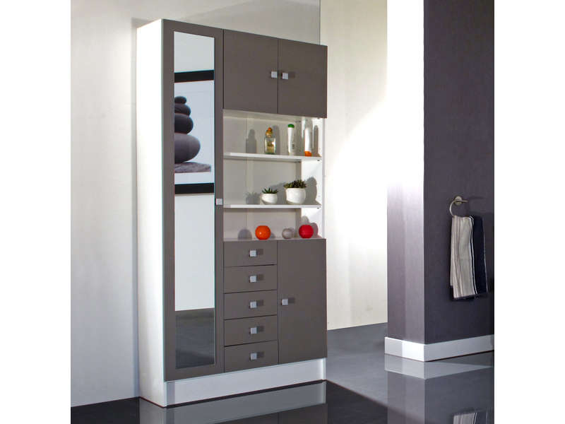armoire de salle de bain 1 miroir 4 portes 5 tiroirs weni coloris blanc taupe vente de. Black Bedroom Furniture Sets. Home Design Ideas