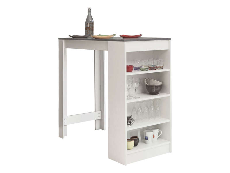 Table de bar rey coloris blanc b ton vente de table - Table de bar cuisine ...