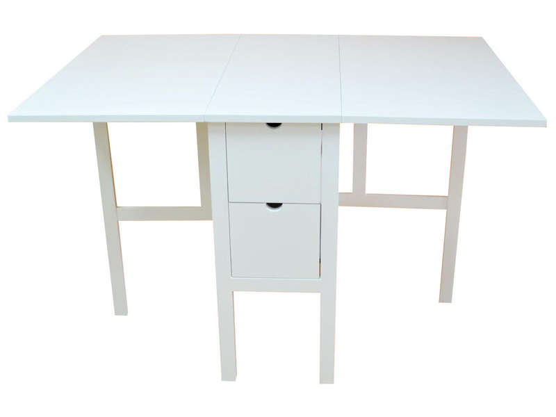Table pliante 80 cm tidy coloris blanc chez conforama for Table cuisine bois blanc