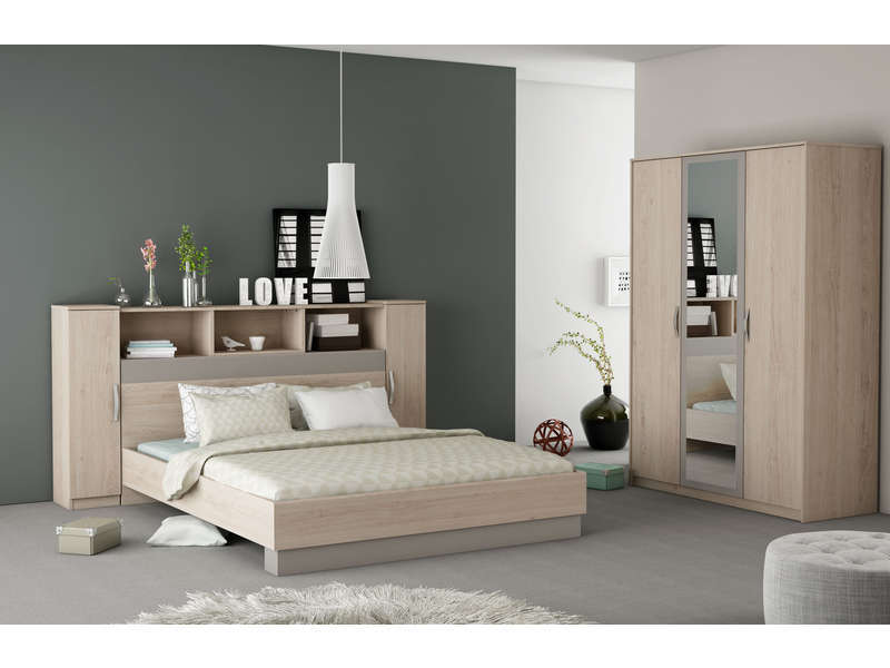 Lit 140x190 cm graphic coloris ch ne arizona vente de for Chambre adulte complete lit 140x190