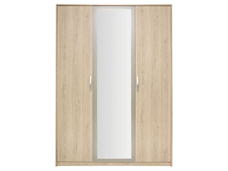 Armoire 3 portes battantes graphic coloris ch ne arizona for Armoire conforama