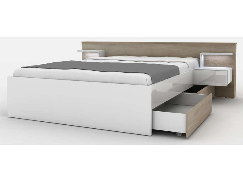 lit 160x200 cm lano coloris ch ne sonoma vente de lit adulte conforama. Black Bedroom Furniture Sets. Home Design Ideas