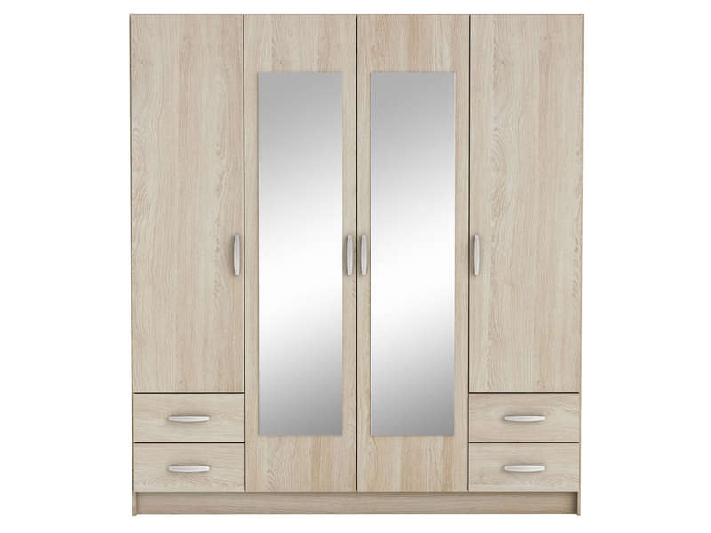 achat armoire 4 portes avec miroir quadra coloris noisette. Black Bedroom Furniture Sets. Home Design Ideas