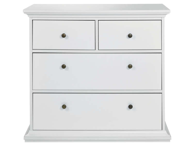 Commode 2+2 tiroirs HARLINGTON coloris blanc - Vente de Commode ...