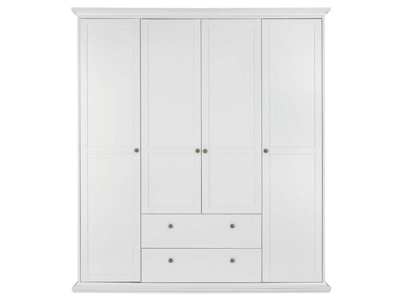 armoire 4 portes battantes harlington coloris blanc. Black Bedroom Furniture Sets. Home Design Ideas