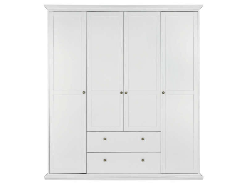 armoire 4 portes battantes harlington coloris blanc vente de armoire conforama. Black Bedroom Furniture Sets. Home Design Ideas