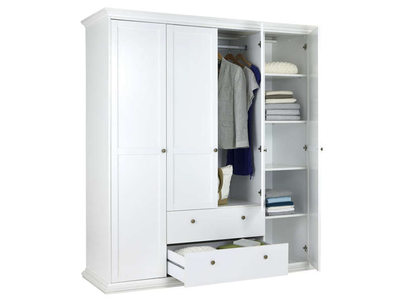 Armoire 4 portes battantes harlington coloris blanc for Armoire penderie blanc conforama