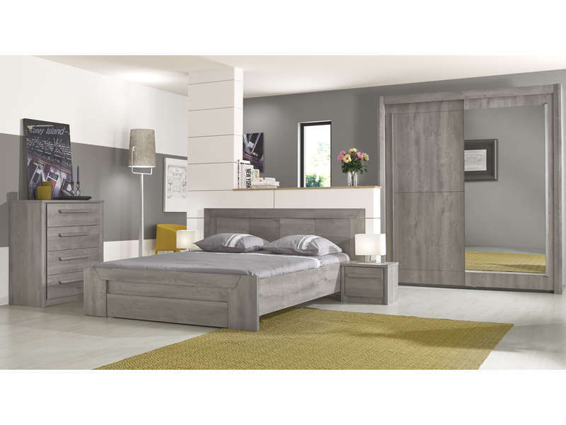 lit 160x200 cm tiroir eden coloris ch ne gris vente de. Black Bedroom Furniture Sets. Home Design Ideas