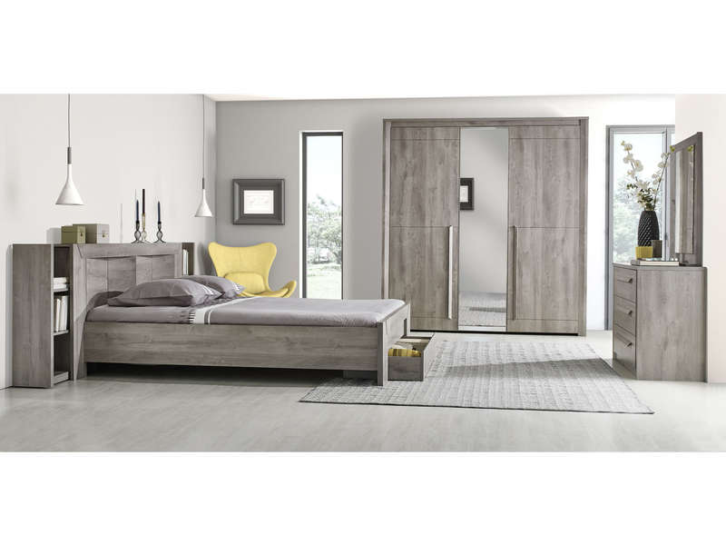 Commode 3 tiroirs eden coloris ch ne gris vente de for Chambre conforama