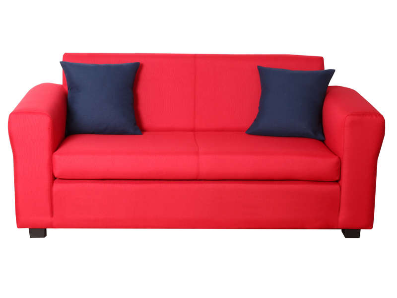 D plimousse convertible poppy coloris rouge vente de for Canape sejour