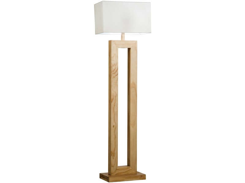 lampadaire 158 cm woody coloris blanc naturel vente de lampadaire conforama. Black Bedroom Furniture Sets. Home Design Ideas