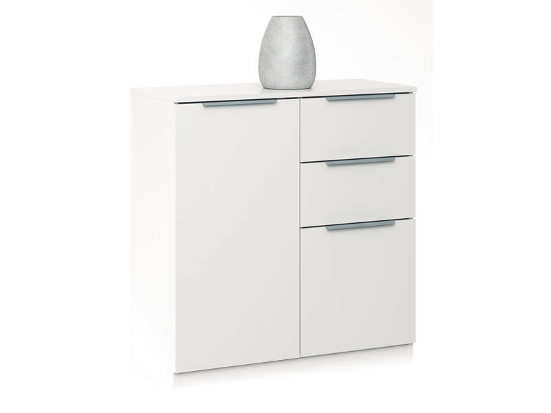 Rangement 2 portes 2 tiroirs chest coloris blanc vente for Meuble 2 porte conforama