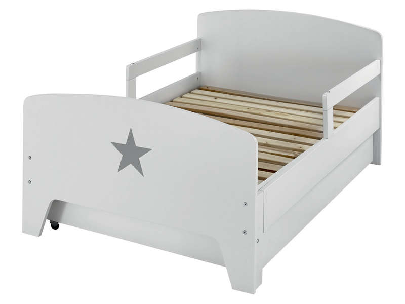 lit volutif 90x140 170 200 cm star coloris blanc vente de lit enfant conforama. Black Bedroom Furniture Sets. Home Design Ideas