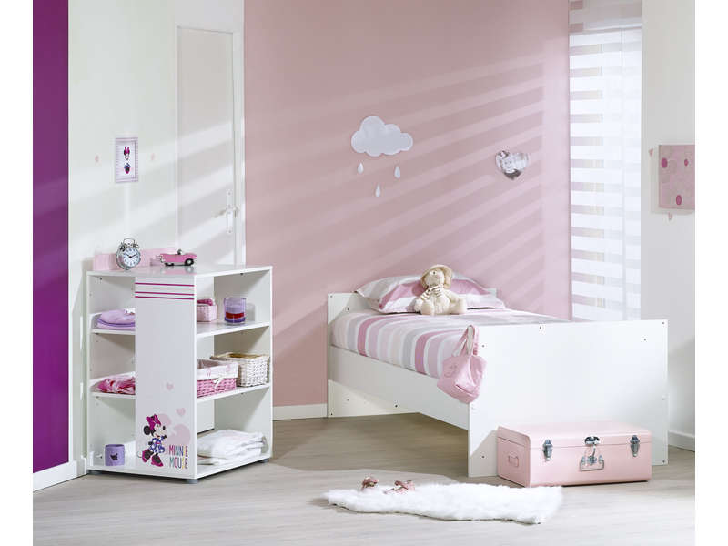 lit volutif 60x120 cm minnie coloris blanc rose vente de minnie conforama. Black Bedroom Furniture Sets. Home Design Ideas