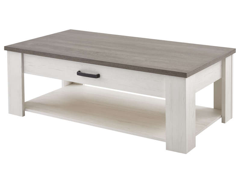 table basse rectangulaire 1 tiroir duke coloris blanc chez conforama. Black Bedroom Furniture Sets. Home Design Ideas