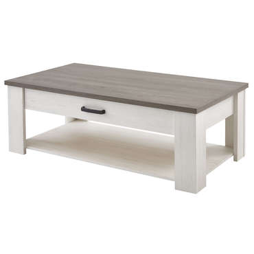 table basse rectangulaire 1 tiroir duke coloris blanc vente de table basse conforama. Black Bedroom Furniture Sets. Home Design Ideas