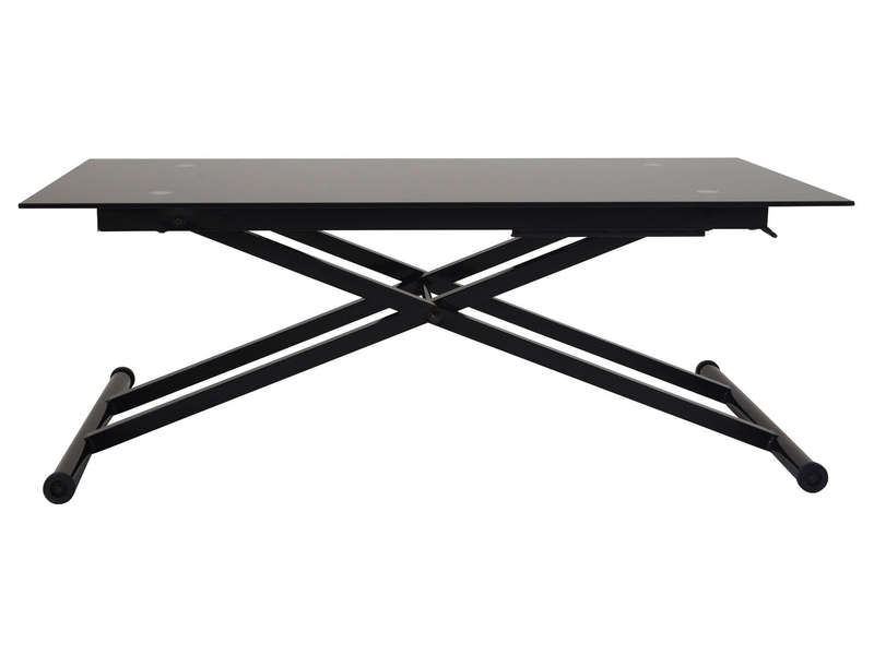 Table basse relevable en verre lift coloris noir vente de table basse conforama - Table salon verre conforama ...