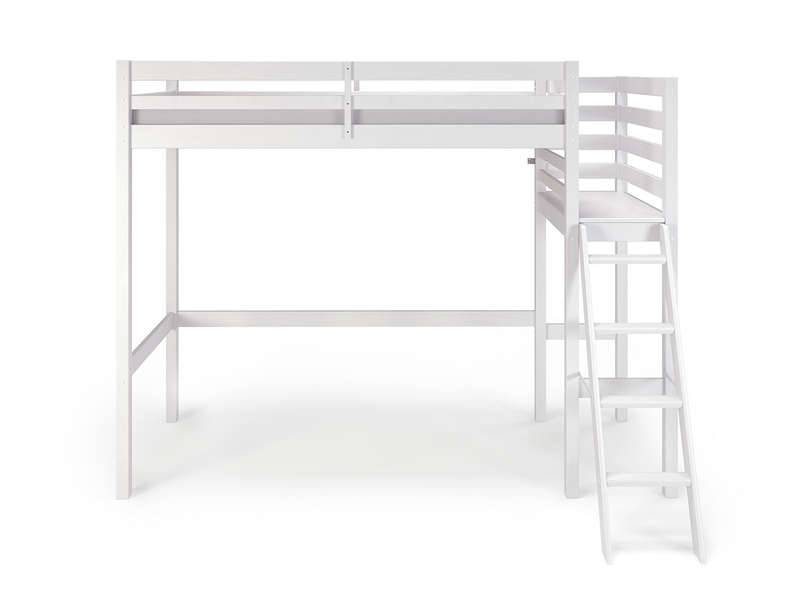 Lit mezzanine 90x190 200 cm melody coloris blanc vente for Mezzanine 2 places bois
