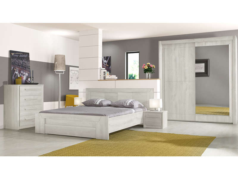 lit 160x200 cm tiroir eden coloris ch ne blanchi vente de lit adulte conforama. Black Bedroom Furniture Sets. Home Design Ideas