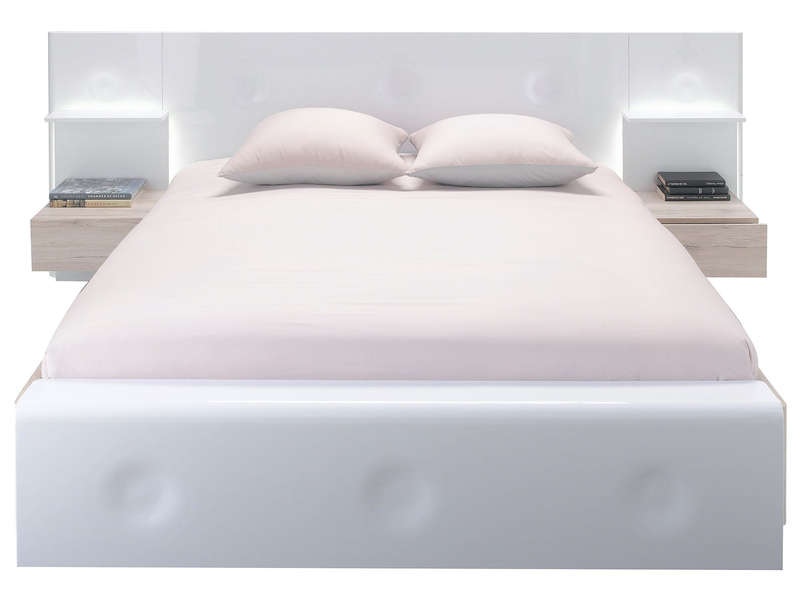 Lit adulte 140x190 cm onde coloris blanc brillant et ch ne for Chambre adulte complete lit 140x190