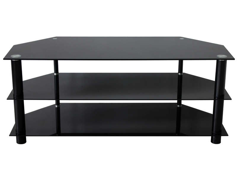 Meuble tv 110 cm en verre tremp alpha 3 coloris noir for Table de television en verre