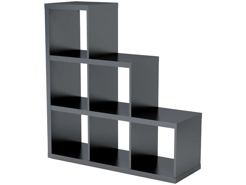 biblioth que escalier 6 cases alvin coloris noir vente de biblioth que conforama. Black Bedroom Furniture Sets. Home Design Ideas