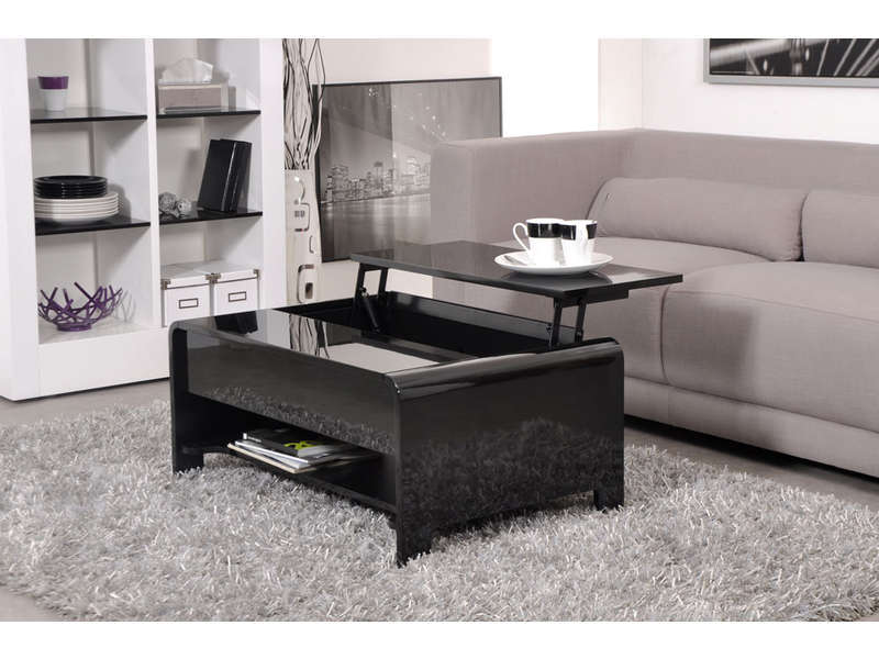 Etagere Conforama : Table basse rectangulaire avec plateau relevable duna