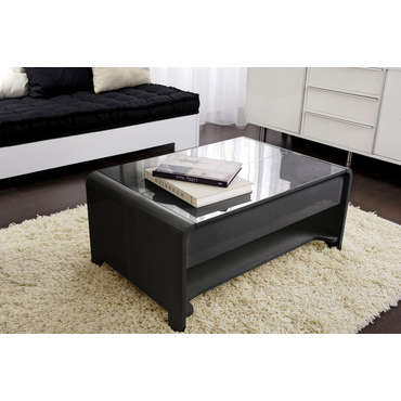 table basse rectangulaire avec plateau relevable duna coloris noir vente de table basse. Black Bedroom Furniture Sets. Home Design Ideas
