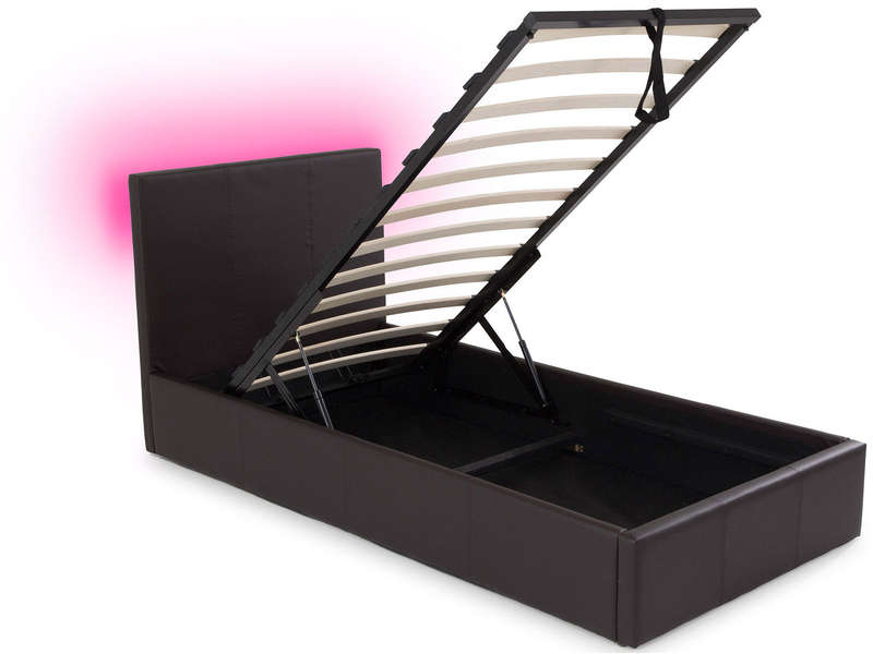 lit coffre 90x190 cm avec led steva light coloris taupe. Black Bedroom Furniture Sets. Home Design Ideas