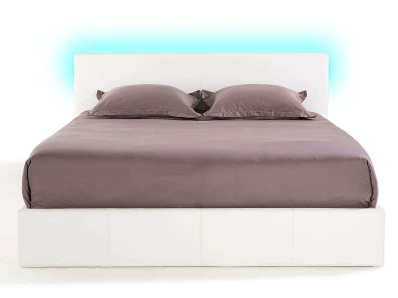 lit coffre 140x190 cm avec led steva light coloris blanc chez conforama. Black Bedroom Furniture Sets. Home Design Ideas