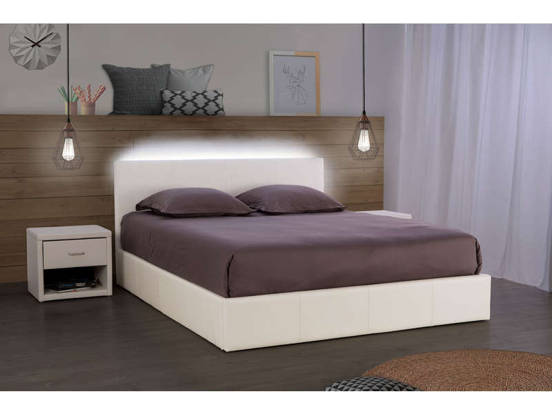 lit coffre 140x190 cm avec led steva light coloris blanc vente de lit adulte conforama. Black Bedroom Furniture Sets. Home Design Ideas