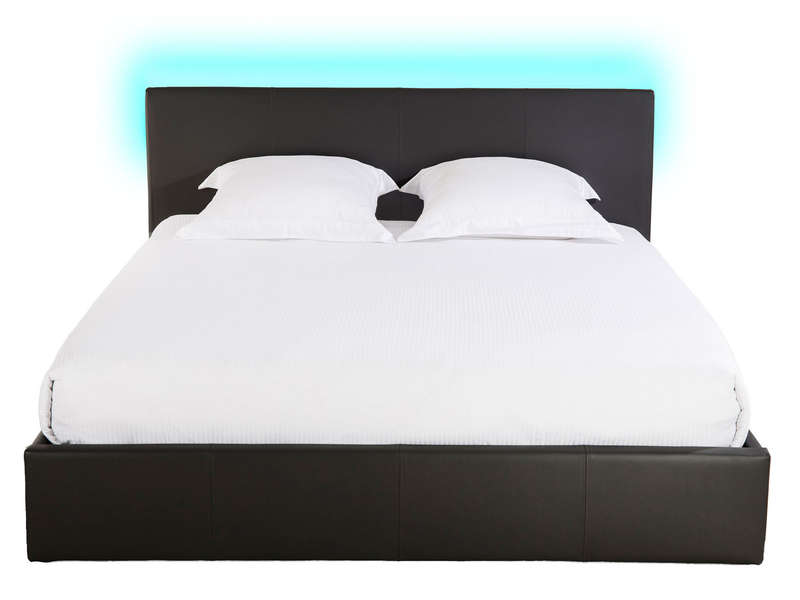 lit coffre 140x190 cm avec led steva light coloris noir chez conforama. Black Bedroom Furniture Sets. Home Design Ideas