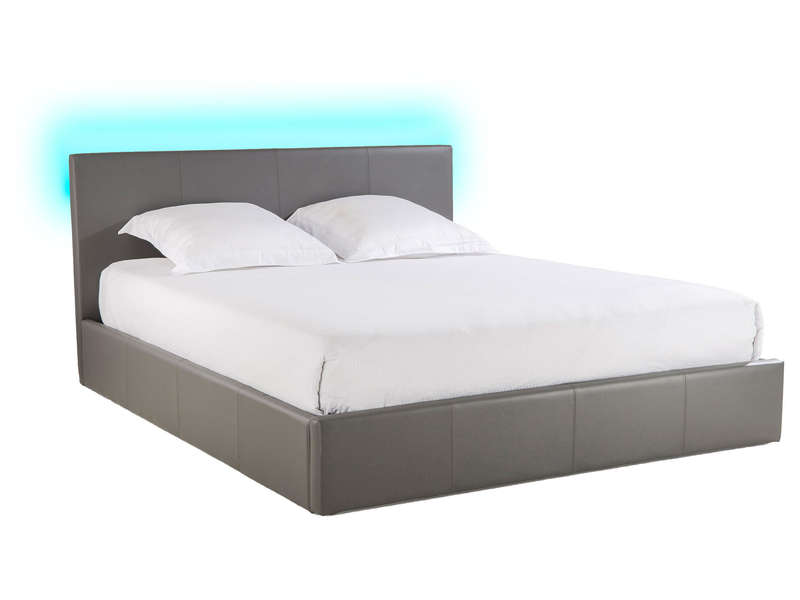 lit coffre 180x200 cm avec led steva light coloris gris. Black Bedroom Furniture Sets. Home Design Ideas