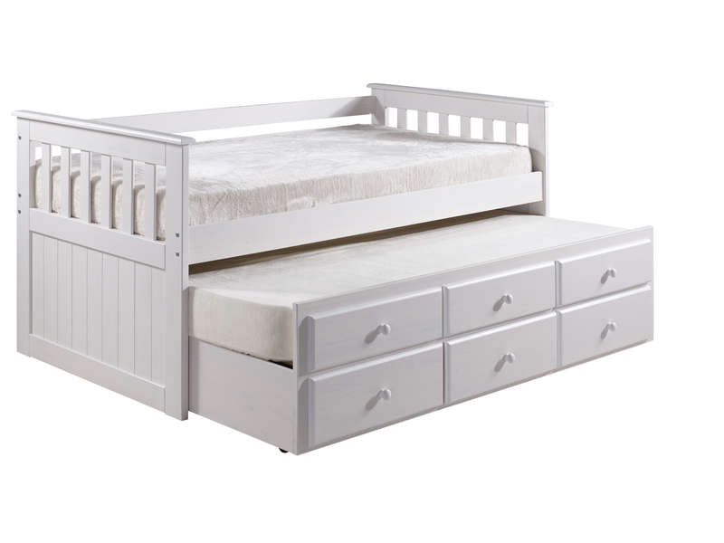lit gigogne 90x190 cm captain coloris blanc vente de lit enfant conforama. Black Bedroom Furniture Sets. Home Design Ideas