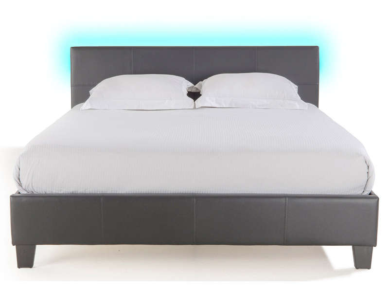 Lit adulte 140x190 cm avec led bloom light coloirs gris for Chambre adulte complete lit 140x190