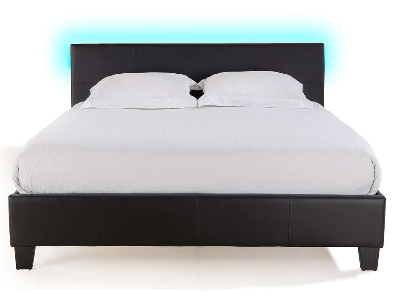 lit adulte 140x190 cm avec led bloom light coloris noir. Black Bedroom Furniture Sets. Home Design Ideas
