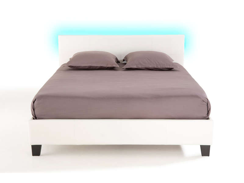 lit adulte 160x200 cm avec led bloom light chez conforama. Black Bedroom Furniture Sets. Home Design Ideas