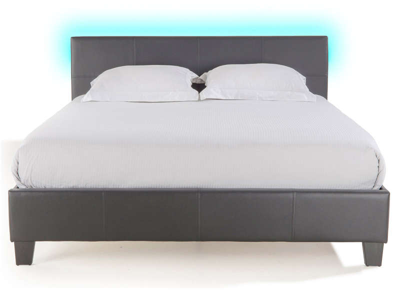 Lit adulte 160x200 cm avec led bloom light chez conforama - Lit mezzanine adulte 160x200 ...