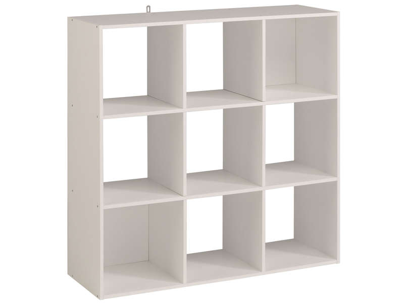 Biblioth que 9 cases kubikub coloris blanc vente de for Petit meuble de rangement conforama