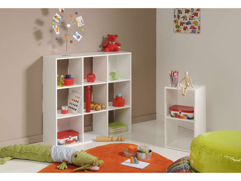 Biblioth que 9 cases kubikub coloris blanc vente de biblioth que conforama - Meuble 9 cases ...