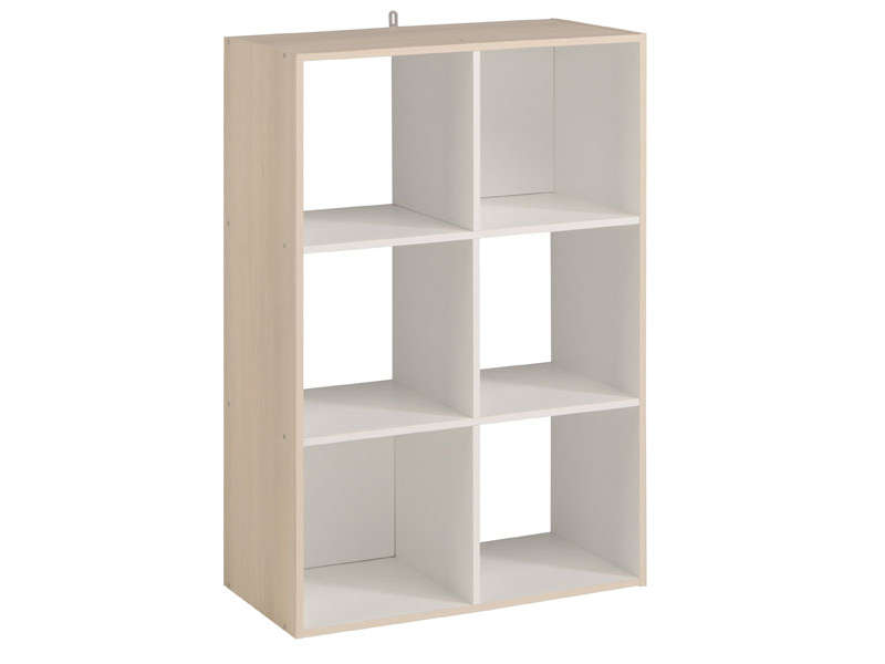 Biblioth que 6 cases kubikub coloris acacia blanc vente de biblioth que - Bibliotheque 6 cases ...