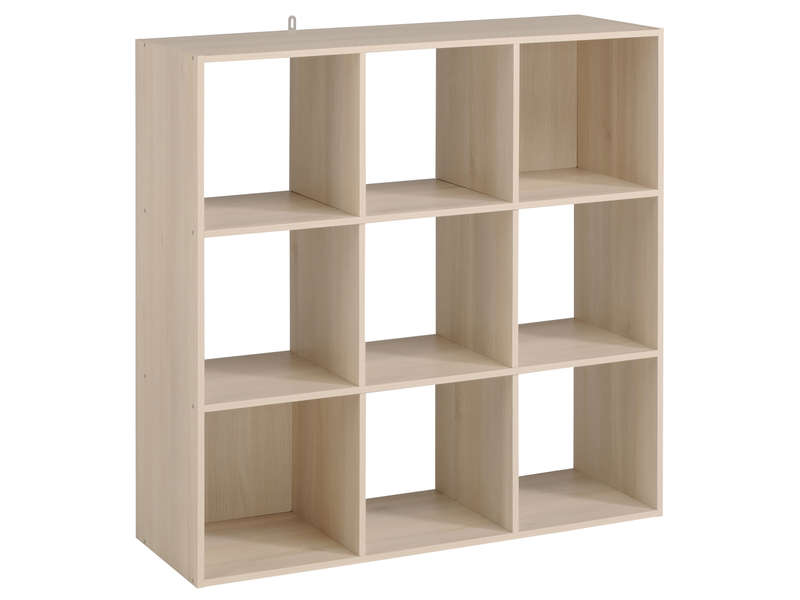 Biblioth que 9 cases kubikub coloris acacia vente de for Meuble 12 cases