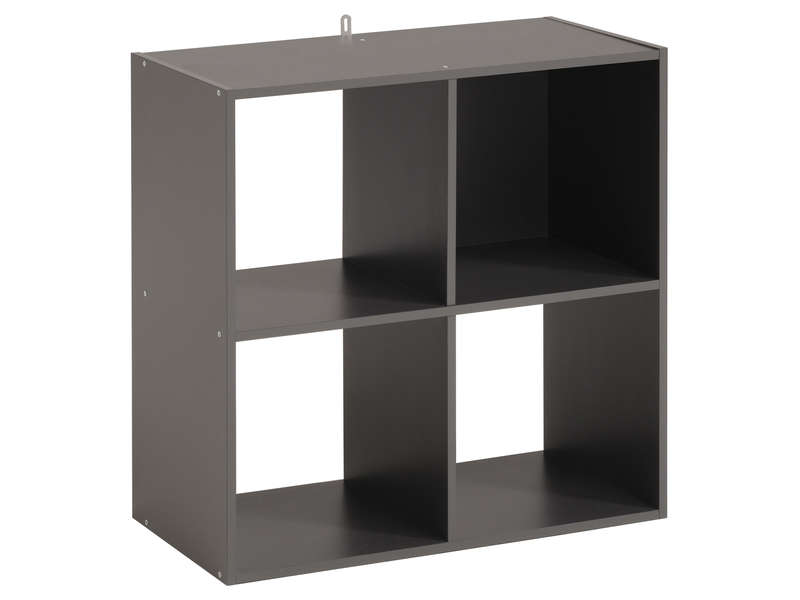 biblioth que 4 cases kubikub coloris gris vente de biblioth que conforama. Black Bedroom Furniture Sets. Home Design Ideas