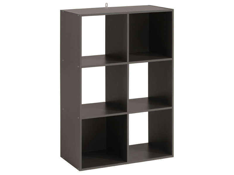 Biblioth que 6 cases kubikub w coloris gris vente de for Meuble 12 cases