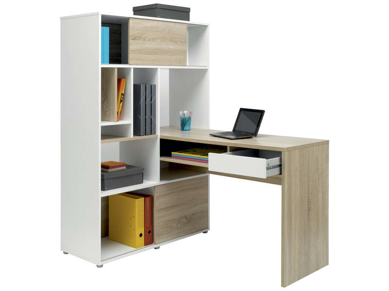 bureau 100 cm rangement klass coloris blanc ch ne. Black Bedroom Furniture Sets. Home Design Ideas