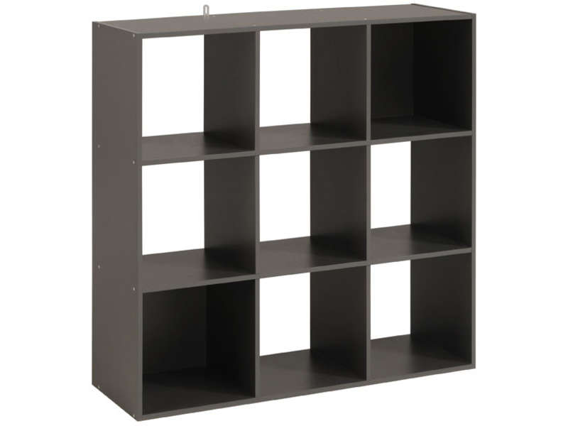 biblioth que 9 cases kubikub coloris gris vente de biblioth que conforama. Black Bedroom Furniture Sets. Home Design Ideas