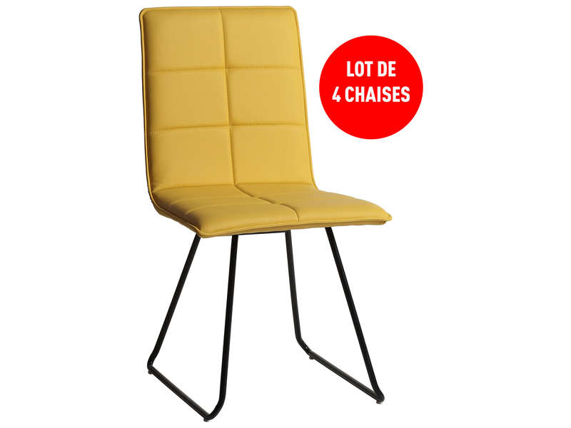 Lot de 4 chaises everest coloris jaune vente de table et for Lot chaise de jardin