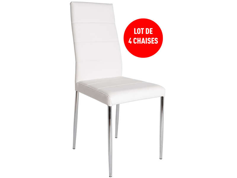 Lot de 4 chaises altea coloris blanc vente de table et for Conforama chaise de jardin