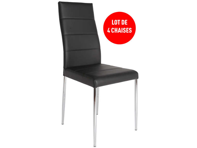 Lot de 4 chaises altea coloris noir vente de table et for Conforama chaise de jardin